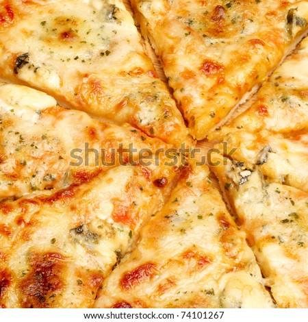 Closeup view of four cheese pizza - stock photo