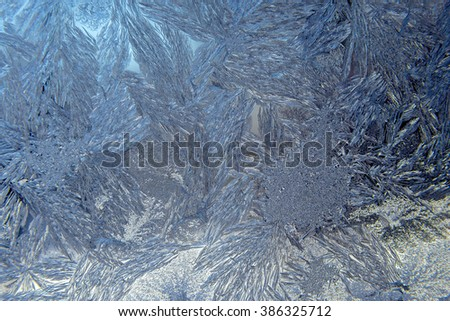 Closeup view of Frost on Winter Window