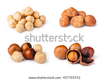 Closeup view of hazelnuts isolated on white background - stock photo