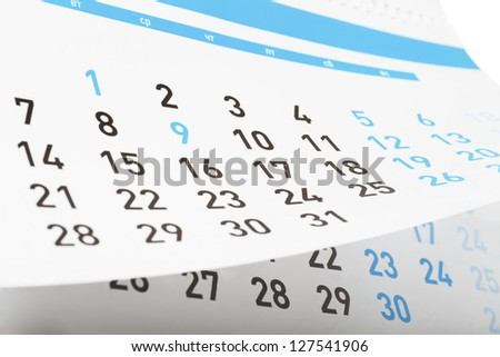Closeup view of pages of tear-off calendar - stock photo