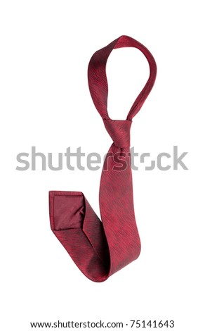 Closeup view of red single tie isolated over white - stock photo