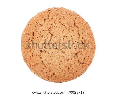 Closeup view of round oat cookie on the white background - stock photo