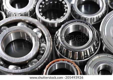 closeup view of several ball-bearings - stock photo