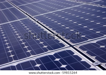 Closeup view of solar panels - stock photo