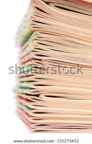Closeup view of stack of magazines