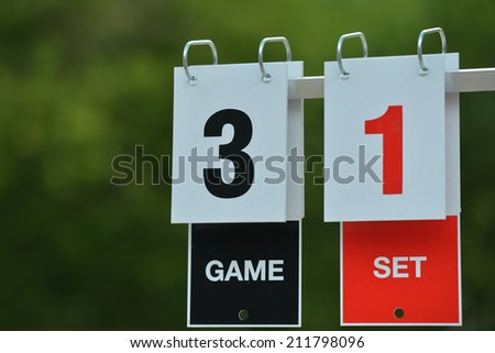 Closeup view of tennis scoreboard - stock photo