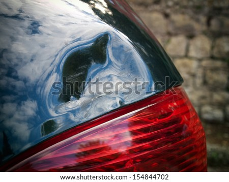 Closeup view of the car body damage. - stock photo