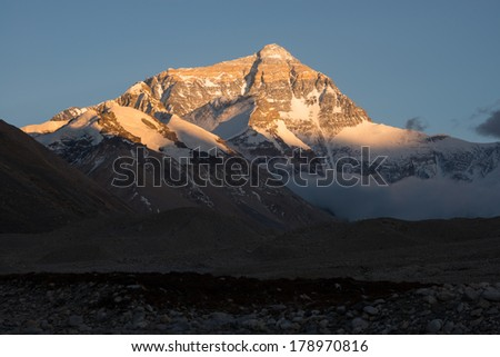 Closeup view of The north face of Mt. Everest before sunset, Tibet. - stock photo