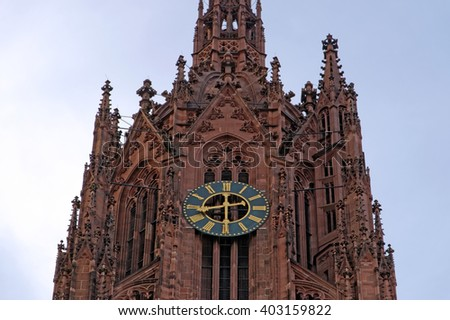 Closeup view of the Saint Bartholomew Frankfurt cathedral in Germany - stock photo