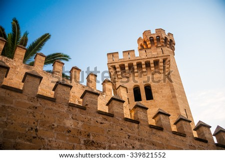 Closeup view of the stone walls of Almudaina palace with palm tree against blue sky at sunset, Palma de Mallorca, Balearic islands, Spain. - stock photo