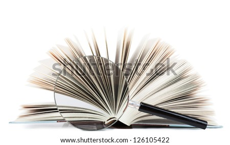 Closeup view of thick open book and magnifying glass isolated over white background