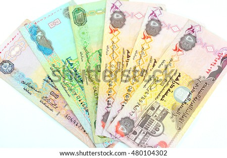 Closeup view of UAE Dirham currency notes.