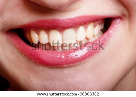 Closeup view of woman smile