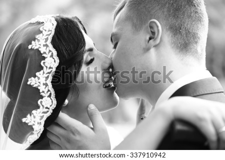 Closeup view of young beautiful happy kissing wedding couple of brunette woman in veil and man embracing girl, horizontal picture
