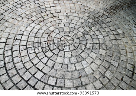 Closeup view on a cobblestone road - circle pattern - background