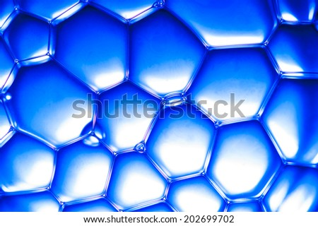 closeup view on blue bubbles