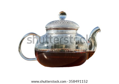 closeup, vintage, isolated, glass teapot with tea with mint
