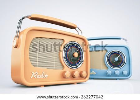 Closeup Vintage Radios on a white background - stock photo