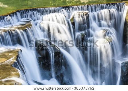 Closeup waterfall, Shifen Waterfall, New Taipei, Taiwan - stock photo
