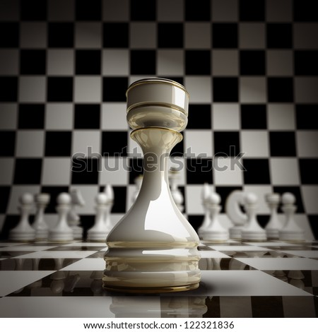 closeup white chess rook background 3d illustration. high resolution - stock photo