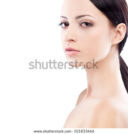 closeup woman face portrait, looking at camera - stock photo