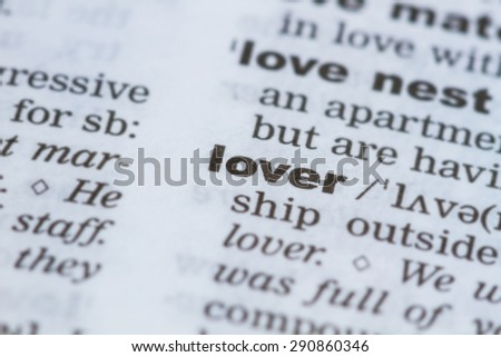 closeup word lover  in dictionary, soft focus, - stock photo