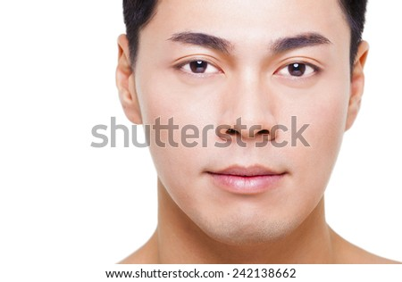 closeup young  asian man face isolated on white - stock photo