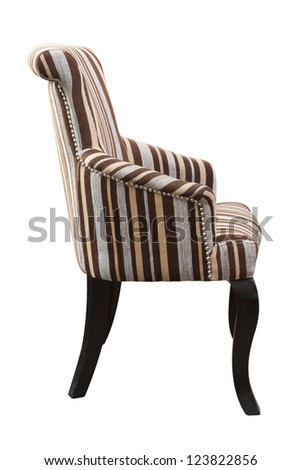 cloth armchair isolated on white. - stock photo