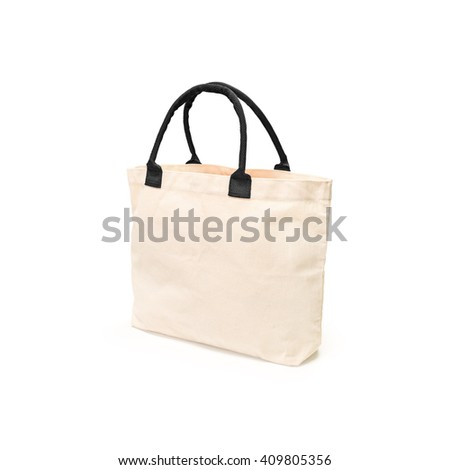 Cloth bag. Fabric bag. Canvas bag. Eco bag. Reusable bag. Cotton bag. Handbag isolated. Clipping path bag. Save world bag. Global warming reuse bag. Sackcloth isolated. Burlap bag isolated. Fashion - stock photo