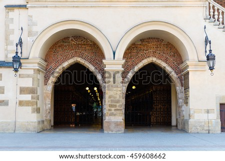 Cloth Hall located in the center of the main square in Krakow, P