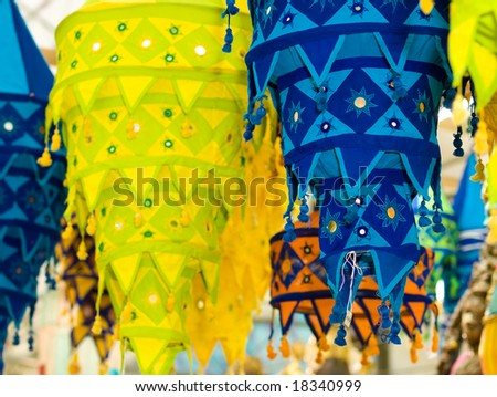 Cloth Inverse Tapering Lanterns - stock photo