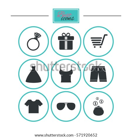Clothes Accessories Icons Tshirt Sunglasses Signs Stock Illustration ...