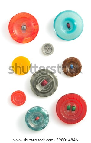 clothes buttons isolated on white background - stock photo