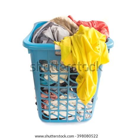 Clothes fabric basket on white background - stock photo