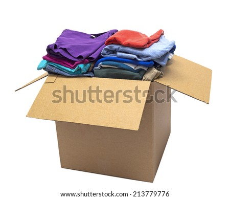 Clothes Folded In Box/ Isolated On White - stock photo