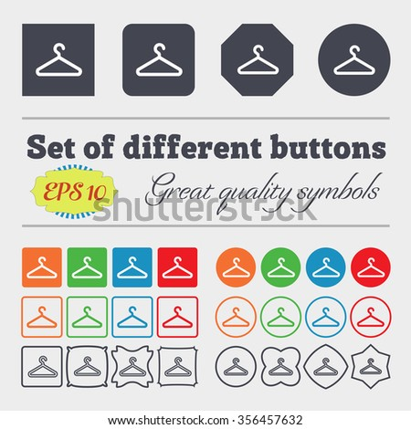 clothes hanger icon sign. Big set of colorful, diverse, high-quality buttons. illustration - stock photo