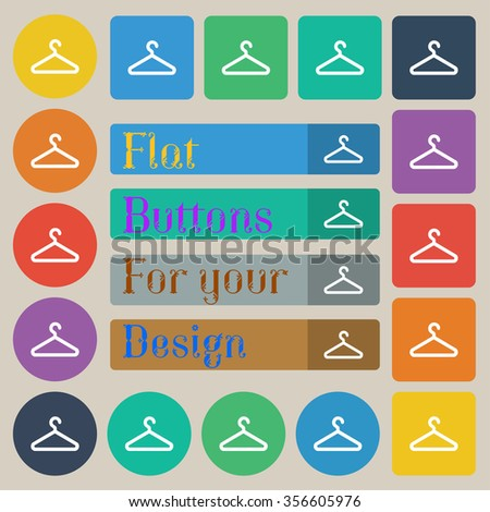 clothes hanger icon sign. Set of twenty colored flat, round, square and rectangular buttons. illustration - stock photo