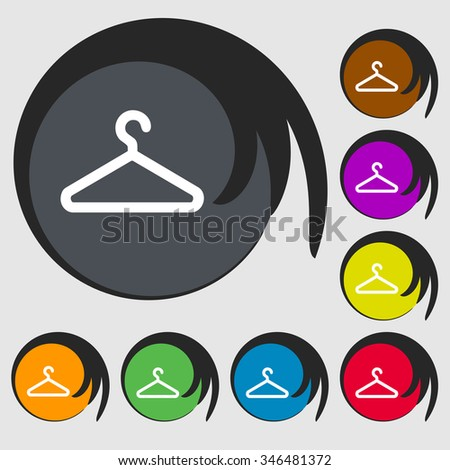clothes hanger icon sign. Symbol on eight colored buttons. illustration - stock photo