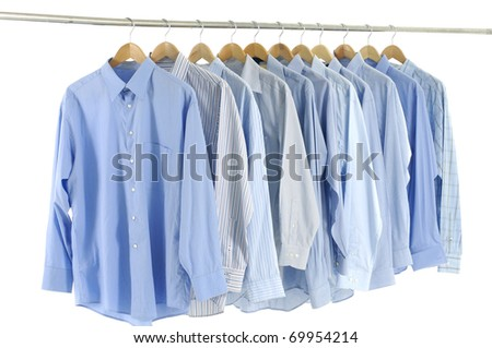 clothes hanger with blue shirt - stock photo