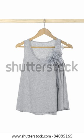 clothes hanger with Fashion gray shirts - stock photo