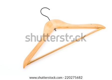 clothes hanger wooden isolated on white background