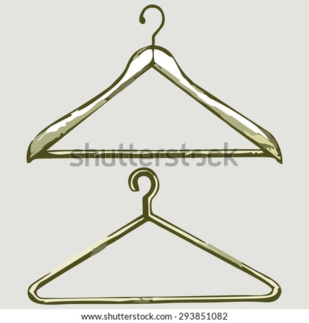 Clothes hangers. Shades of green and yellow. Raster version - stock photo
