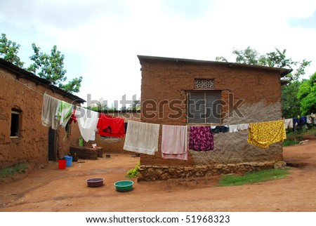 clothes hanging in Africa - stock photo