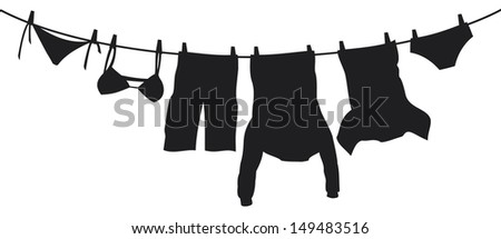 clothes hanging on a clothesline (hanging on thread, clothes drying, t-shirt, boxer short, men's sweatshirt with pocket, pants, panties, bra, laundry hanging to dry) - stock photo