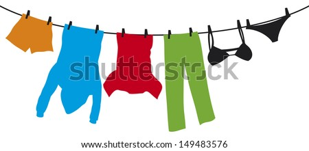 clothes hanging on a clothesline (hanging on thread, clothes drying, t-shirt, boxer short, men's hooded sweatshirt with pocket, pants, panties, bra, laundry hanging to dry) - stock photo