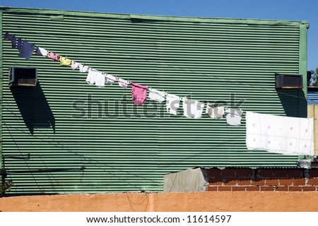 Clothes hanging on a rope at La Boca ,Argentina - stock photo