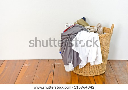 Clothes in a laundry basket