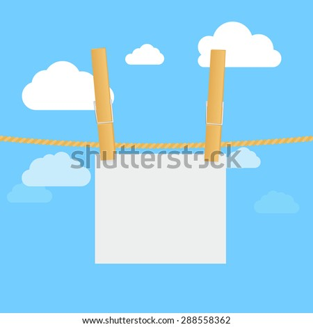 Clothes line, pegs and blank paper cards on blue sky background.  Raster version - stock photo
