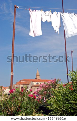 Clothes line pulley - stock photo