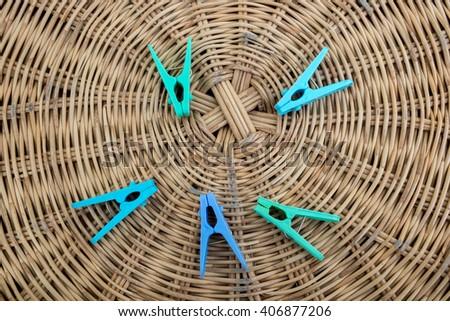 Clothes peg On  Basket Weave background - stock photo